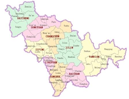 Map of Jilin from Jilin Tourism Board website